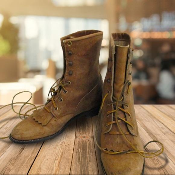 f4747d781ce82 Vintage Justin Lace Up Boots w/ Toe Kiltie Sz 7